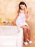 Woman take bubble  bath. Stock Photo