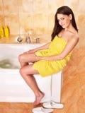 Woman take bubble  bath. Royalty Free Stock Photography