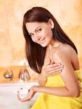 Woman take bubble  bath. Stock Images