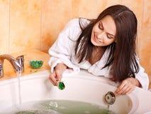 Woman take bubble  bath. Young woman take bubble  bath Royalty Free Stock Photo