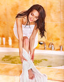 Woman take bubble  bath. Stock Photo