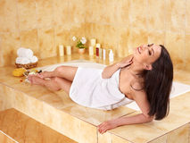 Woman take bubble  bath. Stock Photos