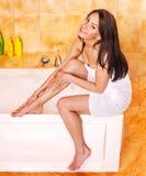 Woman take bubble  bath. Stock Image