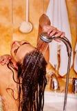 Woman take bubble  bath Stock Images