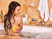 Woman take bubble  bath Stock Image