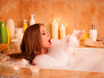Woman take bubble  bath Royalty Free Stock Photo