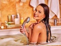 Woman take bubble  bath Royalty Free Stock Photography