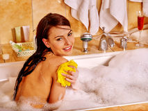 Woman take bubble  bath Royalty Free Stock Photography