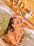 Woman take bubble  bath Royalty Free Stock Photos