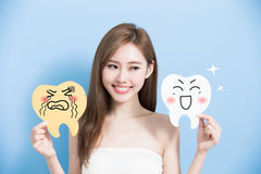 Woman take cute tooth Stock Images