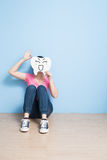 Woman take cute tooth. And show ok to you on the floor Royalty Free Stock Image