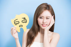 Woman take decay tooth Royalty Free Stock Photography