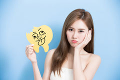 Woman take decay tooth Stock Image