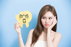 Woman take decay tooth Stock Images