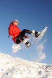 Woman take fun on the snowboard Royalty Free Stock Photo