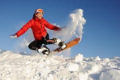 Woman take fun on the snowboard Royalty Free Stock Photography