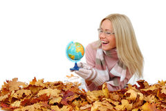 Woman take globe in hands Royalty Free Stock Photo