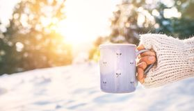 Woman take in hand cup of hot drink. Mug close up shoot stock photography