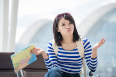Woman take map and confuse Stock Photo