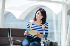 Woman take map and smile stock images