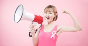 Woman with prevention breast cancer stock photos