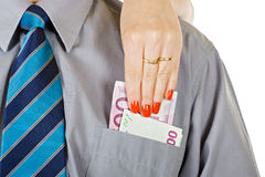 Woman take out the money from the pocket Stock Images
