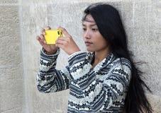 Woman take photo with smart phone Stock Photo