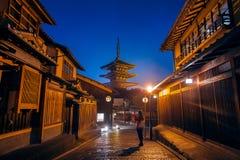 Woman take a photo at Yasaka Pagoda and Sannen Zaka Street in Kyoto, Japan Royalty Free Stock Images