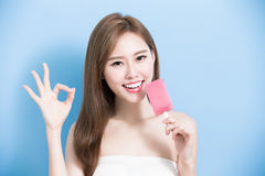 Woman take popsicle royalty free stock images