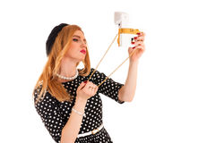 Woman take a self on glamor camera Stock Photography