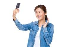 Woman take selfie Royalty Free Stock Photos