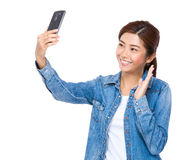 Woman take selfie Royalty Free Stock Photography