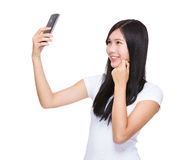 Woman take selfie Stock Photos