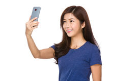 Woman take selfie Stock Images