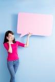 Woman take speech bubble billboard. Beauty woman take speech bubble billboard and talk on phone royalty free stock image