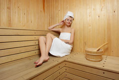 Woman take a steam bath Stock Images
