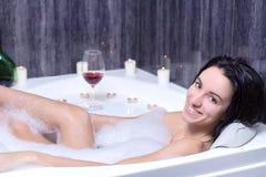 Woman Takes Bath Royalty Free Stock Image