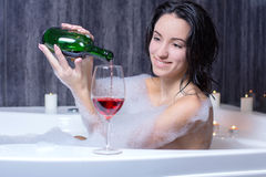 Woman Takes Bath Royalty Free Stock Photo