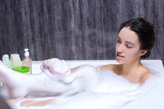Woman Takes Bath Royalty Free Stock Images