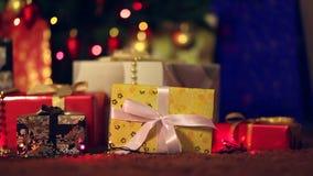 Woman takes Christmas gift stock footage
