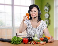 Woman takes of detoxification course online Stock Images