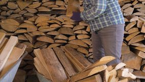 Woman takes the firewood from the cart and gently puts them in the warehouse. Caucasian mature woman on a ranch or in the countryside neatly folds the firewood stock footage