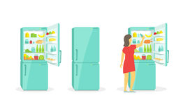 The woman takes in the fridge. Refrigerator. Products household appliances. Refrigerator. The woman takes in the fridge. Products and household appliances vector illustration