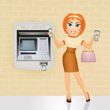 Woman takes money from Atm Stock Images