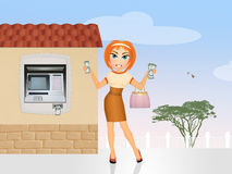 Woman takes money from Atm Royalty Free Stock Images