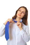 Woman takes off his tie Royalty Free Stock Photo