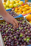 Olives and Fruit at a Market Royalty Free Stock Photos