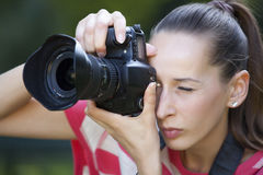 Woman takes a picture Stock Photo
