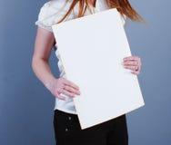 Woman Takes Placard Stock Photos