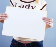 Woman Takes Placard Royalty Free Stock Images